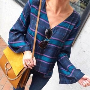 LOFT plaid bar back bell sleeve blouse
